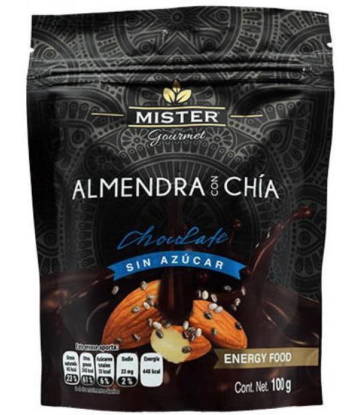ALMENDRA CON CHIA CHOCOLATE SIN AZUCAR 100 G MISTER GOURMET